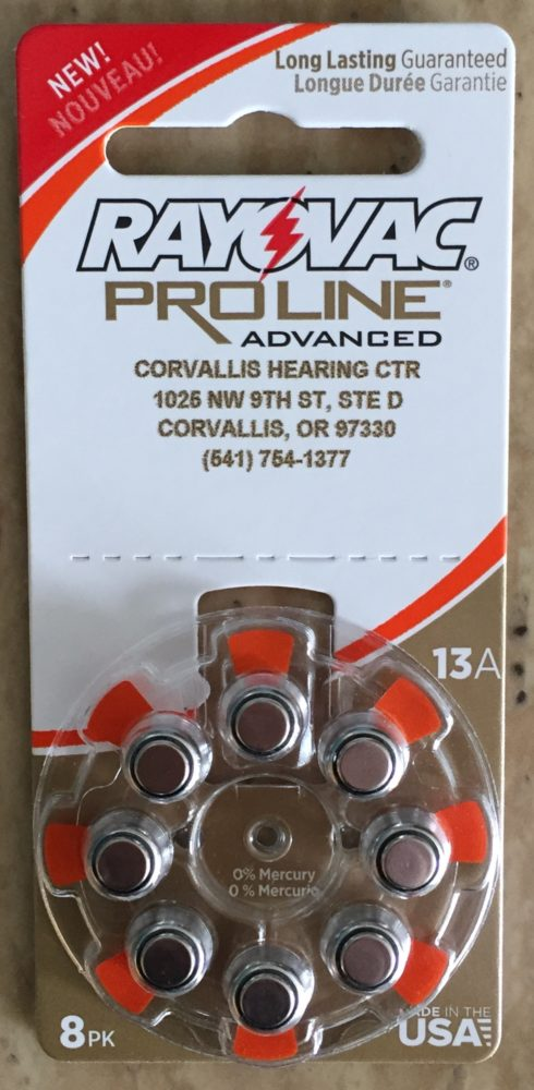 Rayovac 13A Hearing Aid Batteries available at Corvallis Hearing Center Corvallis, Oregon